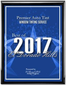 Best Window Tinting Award for Premier Auto Tint by 2017 El Dorado Hills, CA Award Program