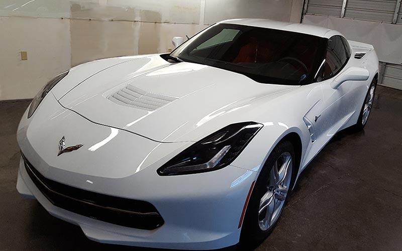 Auto Window Tint installation Service on this Chevrolet Corvette by Premier Auto Tint