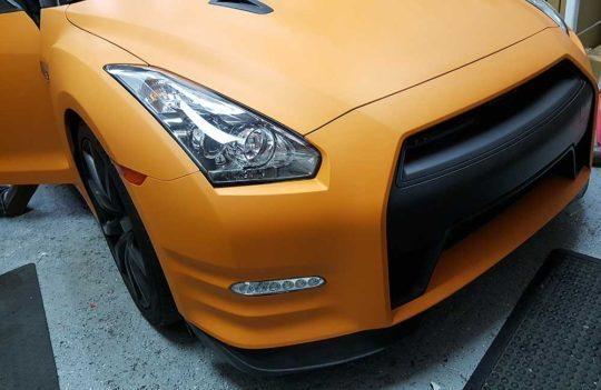 Custom-Designed-Graphic-Auto-Wrap-Nissan-GTR-Front-Grill-Door-Open-El-Dorado-Hills-CA
