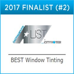 Premier Auto Tint Wins 2017 Best Window Tinting Service Award from Sacramento A-List acknowledging the best in the Sacramento Metropolitan Area.