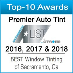 Top-10 Best Auto Window Tinting Services Consecutive Awards 2016, 2017 & 2018 by the Sacramento A-List Award Program for Premier Auto Tint of El Dorado Hills, CA 95762.